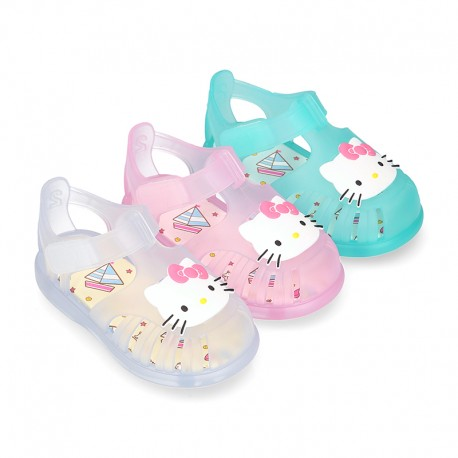 HELLO KITTY design jelly shoes for the Beach and Pool with hook and loop strap closure.
