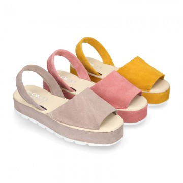 WHITE Nappa leather Menorquina sandals with wedge.