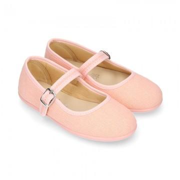 SALMON LINEN Stylized little Girl Mary Jane shoes.