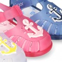 NAUTICAL design kids jelly shoes for the Beach and Pool with hook and loop strap closure.