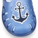 Cangrejera niños con diseño NÁUTICO y cierre adherente para Playa y Piscina.