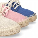 LINEN canvas Laces up style kids espadrille shoes.