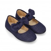 Stylized little Girl Mary Jane shoes with hook and loop strap with double bow in BLUE LINEN.