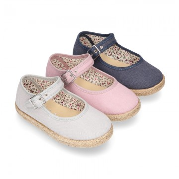 Cotton canvas little Mary Janes espadrille style shoes with FOWERS design lining.