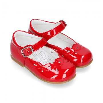 Waves and perforated design Girl Halter little Mary Jane shoes in RED PATENT leather.