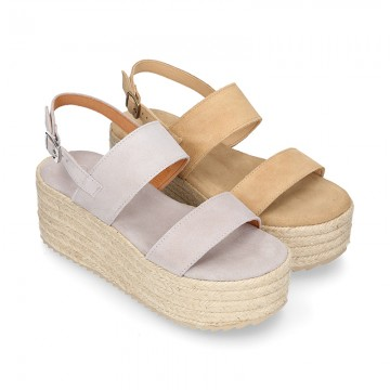 Suede leather women wedge sandal shoes espadrille style.