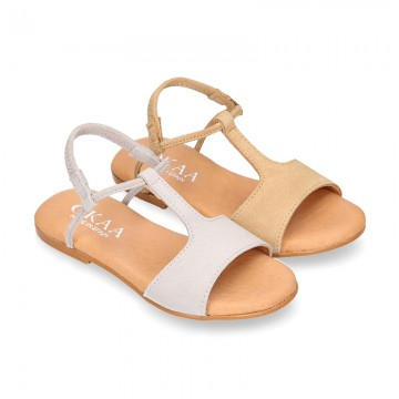 Suede Leather T-Strap girl sandal shoes with elastic band.