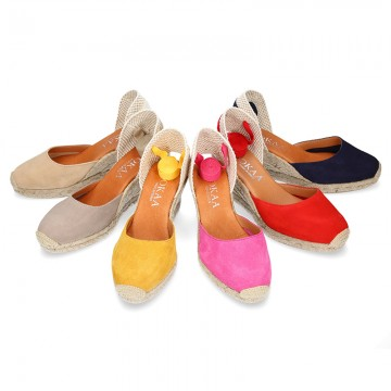 Suede leather espadrille shoes Valenciana style.