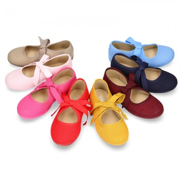 Cotton canvas Ballet flat shoes angel style with ties closure.