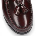 SCHOOL kids Moccasin shoes with tassels in Antik leather.