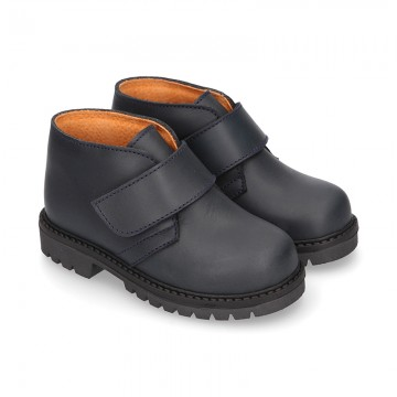 School ankle boot shoes, road shoes style laceless in leather.