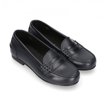 Classic school GIRL Moccasin shoes in Boxcalf Nappa leather.
