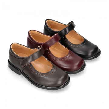 School Classic girl Nappa leather little Mary Jane shoes with perforated design and hook and loop strap.
