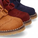 Suede leather kids SPORT English style ankle boots with mountain soles.