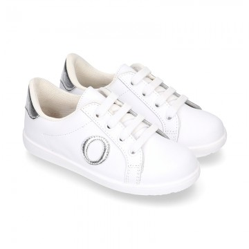 Washable Nappa leather OKAA kids tennis shoes with laces.