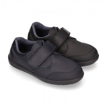 School Washable Nappa leather kids Blucher shoes laceless.