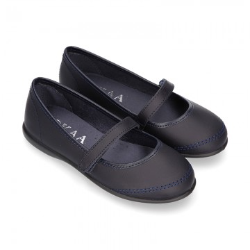 Washable Nappa leather School Mary Jane shoes with hook and loop strap closure.