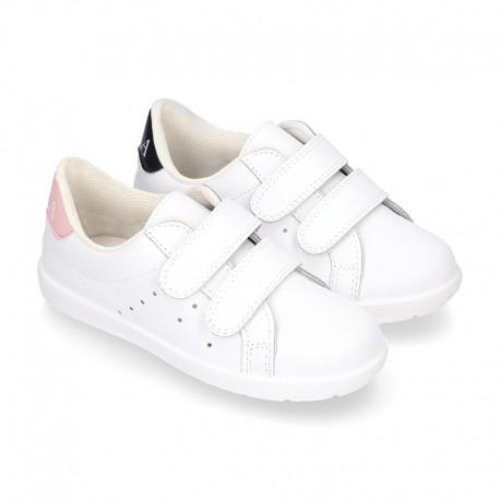 Washable Nappa leather OKAA kids tennis shoes laceless.