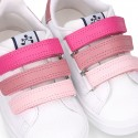 Washable nappa leather school kids tennis shoes laceless with triple hook and loop straps.