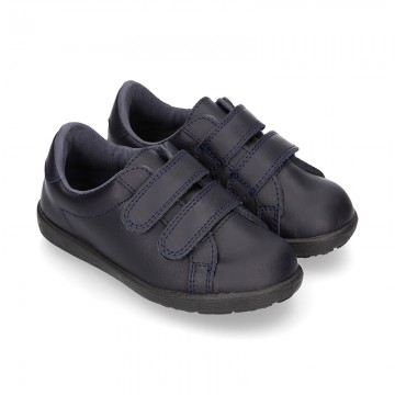Washable Dark blue Nappa leather OKAA kids tennis shoes laceless.
