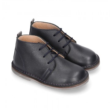 Dark blue Nappa leather kids Safari boots with laces.