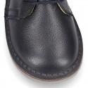 Dark blue Nappa leather kids Safari boots with laces.
