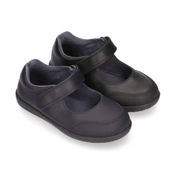 School Washable Nappa leather OKAA Mary Jane shoes laceless.
