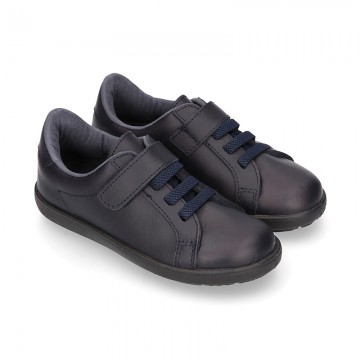 Washable Nappa leather OKAA school shoes with elastic laces.