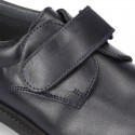Nappa leather School shoes Blucher style laceless.