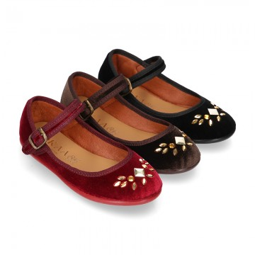 Stylized velvet canvas little Mary Jane shoes with buckle fastening and CRYSTALS design.