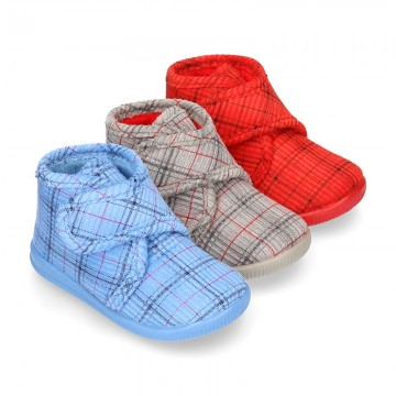 Little kids stripes print design corduroy home bootie shoes laceless.