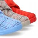 Little kids stripes print design corduroy home bootie shoes laceless.