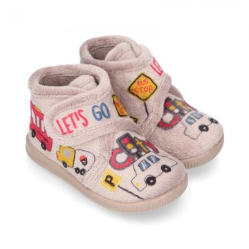 Little kids CARS design wool cotton home bootie shoes laceless.
