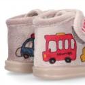 Little kids CARS design wool cotton home bootie shoes laceless.