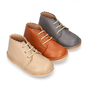EXTRA SOFT Nappa leather Kids Safari Boots with waves design.