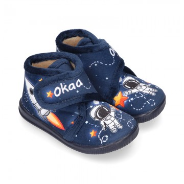Little kids SPACE ROCKETS design wool cotton home bootie shoes laceless.