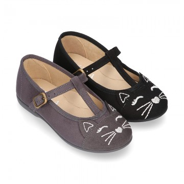 Autumn winter CAT design canvas T-strap little Mary Jane shoes.