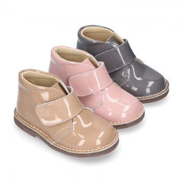PATENT Nappa leather kids Safari boots laceless.