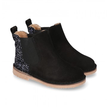 Black Suede leather kids ankle boots with GLITTER counter.