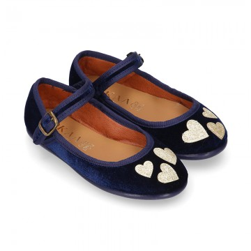 Stylized velvet canvas little Mary Jane shoes with GOLDEN HEARTS design.
