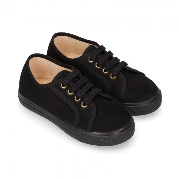 Autumn winter black canvas OKAA kids tennis shoes to dress with shoelaces closure.
