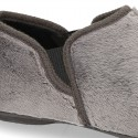Zapatilla casa niño tallas grandes con elásticos en lona tipo lana para Otoño.