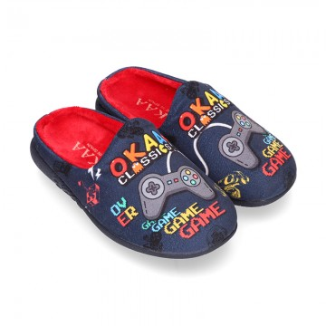 VIDEOGAMES OKAA design Wool effect cloth Home shoes with clog design.