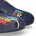 VIDEOGAMES OKAA design Wool effect cloth Home shoes with hook and loop strap.