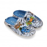 SPACE OKAA design Wool effect cloth Home shoes with clog design.