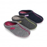 Wool effect Home shoes with clog design and color stitchings for autumn winter.
