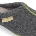 Zapatilla casa niños OKAA tipo zueco en lana con vivos.