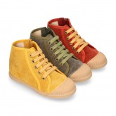 CORDUROY canvas kids boot shoes tennis style with shoelaces closure and toe cap.