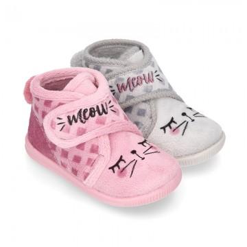 Little kids CAT design wool cotton home bootie shoes laceless.
