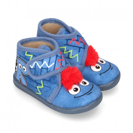 Little kids MONSTER design wool cotton home bootie shoes laceless.
